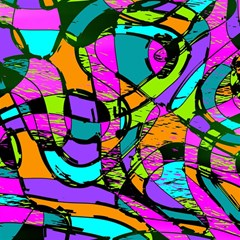 Abstract Sketch Art Squiggly Loops Multicolored Magic Photo Cubes by EDDArt