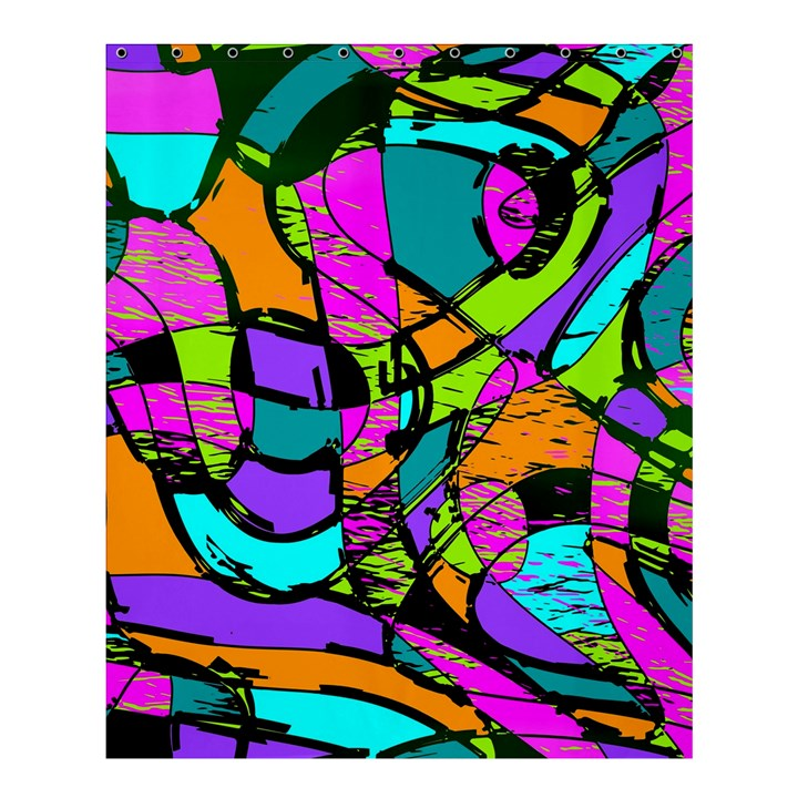 Abstract Sketch Art Squiggly Loops Multicolored Shower Curtain 60  x 72  (Medium)