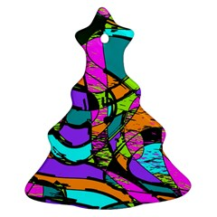 Abstract Sketch Art Squiggly Loops Multicolored Christmas Tree Ornament (2 Sides) by EDDArt
