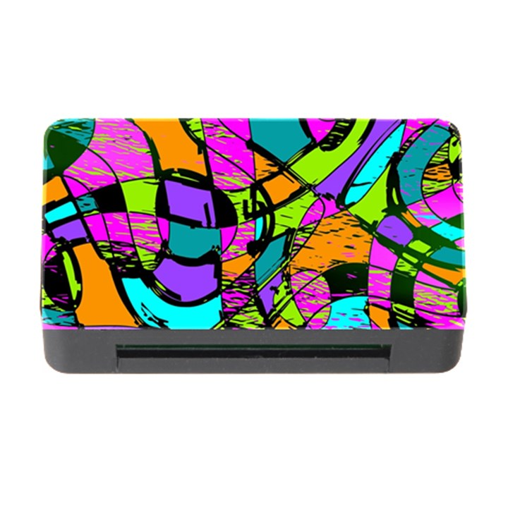 Abstract Sketch Art Squiggly Loops Multicolored Memory Card Reader with CF