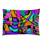 Abstract Sketch Art Squiggly Loops Multicolored Pillow Case (Two Sides) Back
