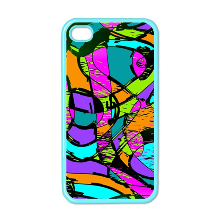 Abstract Sketch Art Squiggly Loops Multicolored Apple iPhone 4 Case (Color)