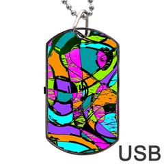 Abstract Sketch Art Squiggly Loops Multicolored Dog Tag Usb Flash (one Side) by EDDArt