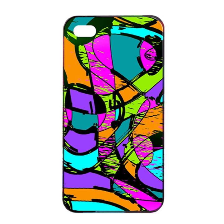 Abstract Sketch Art Squiggly Loops Multicolored Apple iPhone 4/4s Seamless Case (Black)