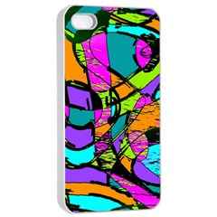 Abstract Sketch Art Squiggly Loops Multicolored Apple Iphone 4/4s Seamless Case (white) by EDDArt