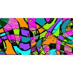 Abstract Sketch Art Squiggly Loops Multicolored Twin Hearts 3D Greeting Card (8x4) Front