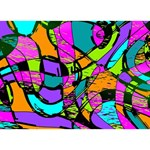Abstract Sketch Art Squiggly Loops Multicolored Circle Bottom 3D Greeting Card (7x5) Back