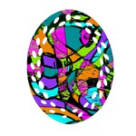 Abstract Sketch Art Squiggly Loops Multicolored Oval Filigree Ornament (2-Side)  Front
