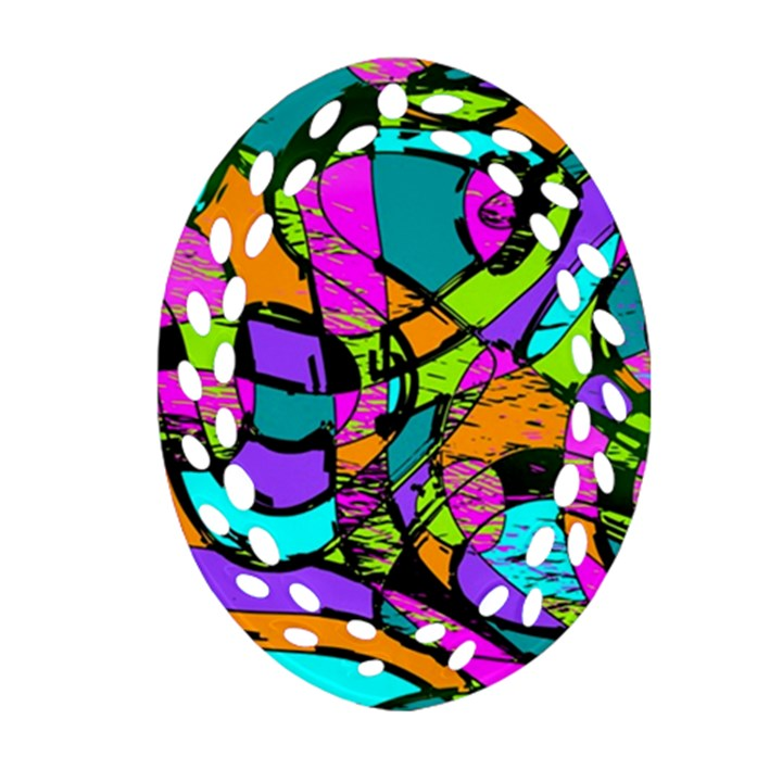 Abstract Sketch Art Squiggly Loops Multicolored Oval Filigree Ornament (2-Side)