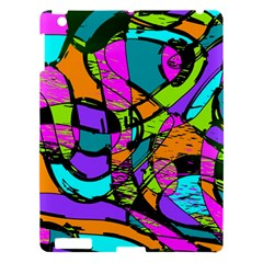 Abstract Sketch Art Squiggly Loops Multicolored Apple iPad 3/4 Hardshell Case