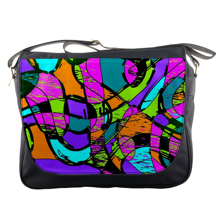 Abstract Sketch Art Squiggly Loops Multicolored Messenger Bags