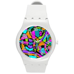 Abstract Sketch Art Squiggly Loops Multicolored Round Plastic Sport Watch (m) by EDDArt