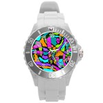 Abstract Sketch Art Squiggly Loops Multicolored Round Plastic Sport Watch (L) Front