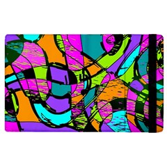 Abstract Sketch Art Squiggly Loops Multicolored Apple Ipad 2 Flip Case by EDDArt