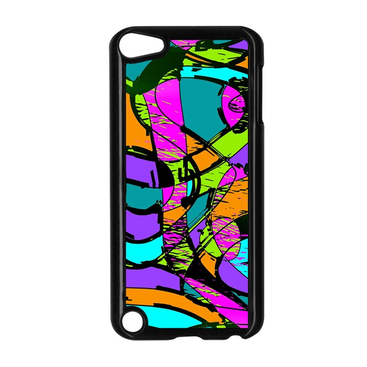 Abstract Sketch Art Squiggly Loops Multicolored Apple iPod Touch 5 Case (Black)