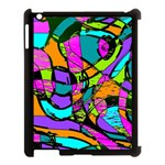 Abstract Sketch Art Squiggly Loops Multicolored Apple iPad 3/4 Case (Black) Front