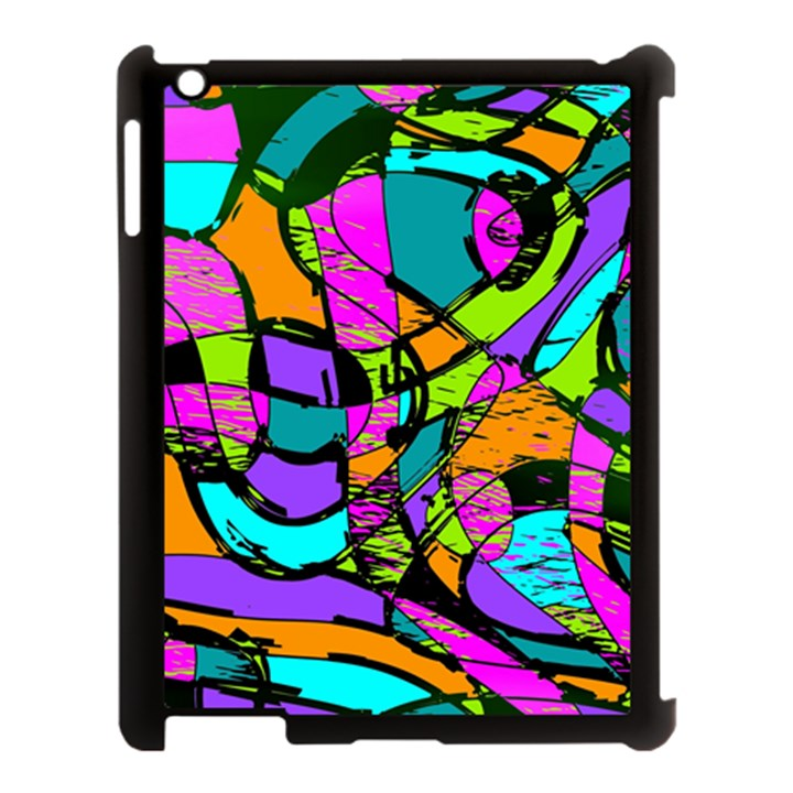 Abstract Sketch Art Squiggly Loops Multicolored Apple iPad 3/4 Case (Black)