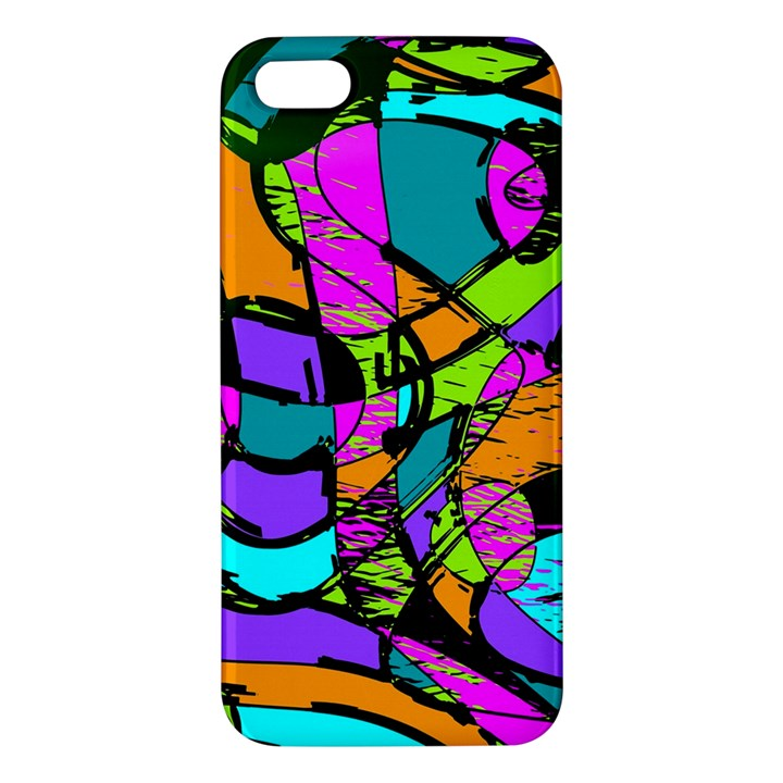 Abstract Sketch Art Squiggly Loops Multicolored Apple iPhone 5 Premium Hardshell Case