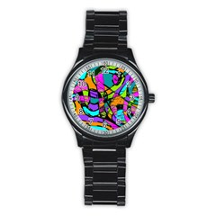 Abstract Sketch Art Squiggly Loops Multicolored Stainless Steel Round Watch by EDDArt