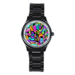 Abstract Sketch Art Squiggly Loops Multicolored Stainless Steel Round Watch Front