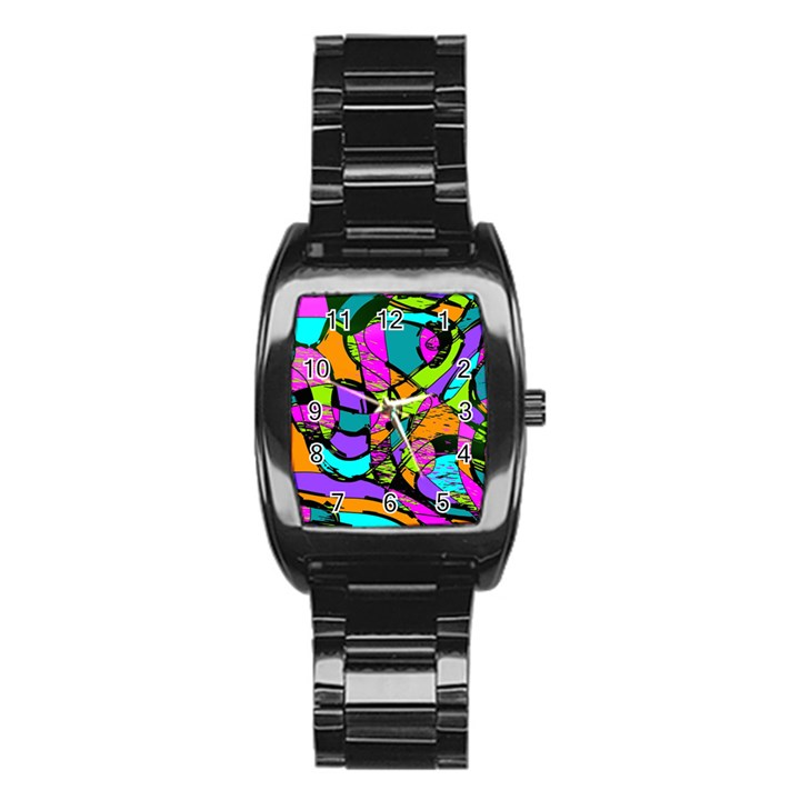 Abstract Sketch Art Squiggly Loops Multicolored Stainless Steel Barrel Watch