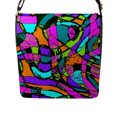 Abstract Sketch Art Squiggly Loops Multicolored Flap Messenger Bag (l)  by EDDArt
