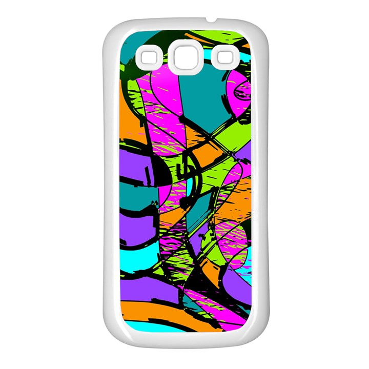 Abstract Sketch Art Squiggly Loops Multicolored Samsung Galaxy S3 Back Case (White)