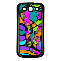 Abstract Sketch Art Squiggly Loops Multicolored Samsung Galaxy S3 Back Case (black) by EDDArt