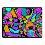 Abstract Sketch Art Squiggly Loops Multicolored Double Sided Fleece Blanket (Small)  45 x34 Blanket Back