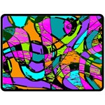 Abstract Sketch Art Squiggly Loops Multicolored Double Sided Fleece Blanket (Large)  80 x60 Blanket Back