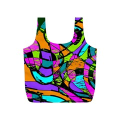 Abstract Sketch Art Squiggly Loops Multicolored Full Print Recycle Bags (s)
