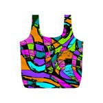 Abstract Sketch Art Squiggly Loops Multicolored Full Print Recycle Bags (S)  Back