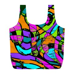 Abstract Sketch Art Squiggly Loops Multicolored Full Print Recycle Bags (l)  by EDDArt