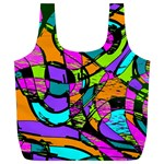 Abstract Sketch Art Squiggly Loops Multicolored Full Print Recycle Bags (L)  Front
