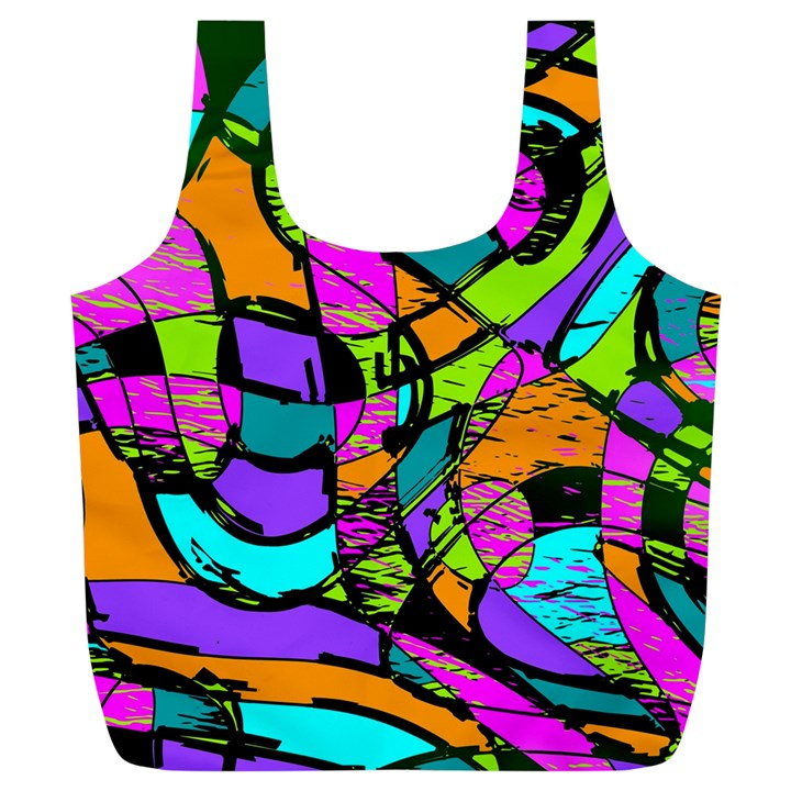 Abstract Sketch Art Squiggly Loops Multicolored Full Print Recycle Bags (L)