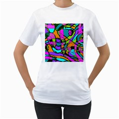 Abstract Sketch Art Squiggly Loops Multicolored Women s T Shirt (white)