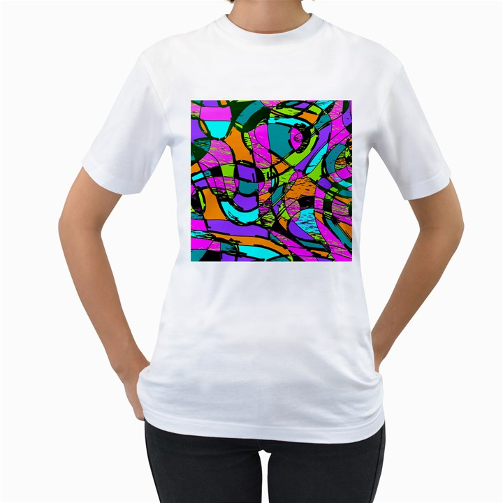 Abstract Sketch Art Squiggly Loops Multicolored Women s T-Shirt (White)