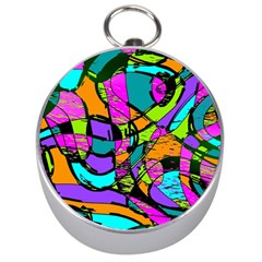 Abstract Sketch Art Squiggly Loops Multicolored Silver Compasses