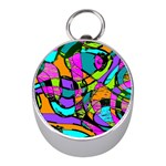 Abstract Sketch Art Squiggly Loops Multicolored Mini Silver Compasses Front