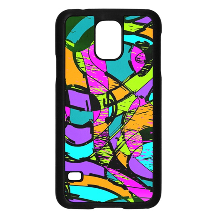 Abstract Sketch Art Squiggly Loops Multicolored Samsung Galaxy S5 Case (Black)