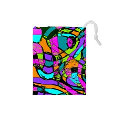 Abstract Sketch Art Squiggly Loops Multicolored Drawstring Pouches (small)  by EDDArt