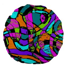 Abstract Sketch Art Squiggly Loops Multicolored Large 18  Premium Flano Round Cushions by EDDArt