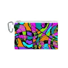 Abstract Sketch Art Squiggly Loops Multicolored Canvas Cosmetic Bag (s) by EDDArt