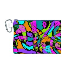 Abstract Sketch Art Squiggly Loops Multicolored Canvas Cosmetic Bag (m) by EDDArt