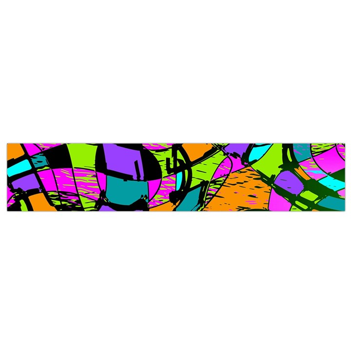 Abstract Sketch Art Squiggly Loops Multicolored Flano Scarf (Small)