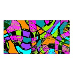 Abstract Sketch Art Squiggly Loops Multicolored Satin Shawl