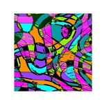 Abstract Sketch Art Squiggly Loops Multicolored Small Satin Scarf (Square) Front
