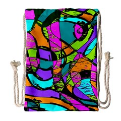 Abstract Sketch Art Squiggly Loops Multicolored Drawstring Bag (large) by EDDArt