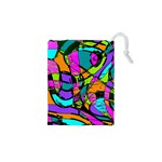 Abstract Sketch Art Squiggly Loops Multicolored Drawstring Pouches (XS)  Front