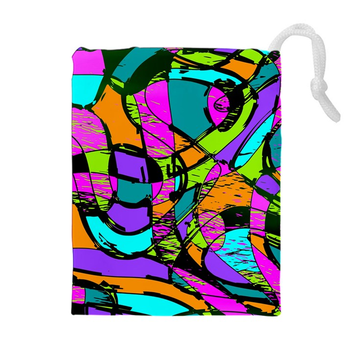 Abstract Sketch Art Squiggly Loops Multicolored Drawstring Pouches (Extra Large)